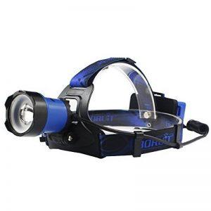 Boruit B13 Super Bright LED lumière lampe frontale, XP-L2 LED zoomable et réglable lampe frontale led headlight avec 2 * 18650 batteries + adaptateur EU + câble USB pour la pêche, la chasse, le camping, vélo, voiture, sport (noir) de la marque Boruit image 0 produit