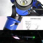 Boruit B13 Super Bright LED lumière lampe frontale, XP-L2 LED zoomable et réglable lampe frontale led headlight avec 2 * 18650 batteries + adaptateur EU + câble USB pour la pêche, la chasse, le camping, vélo, voiture, sport (noir) de la marque Boruit image 1 produit