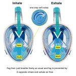 Elite O&S Masque intégral de snorkeling avec tuba pour adultes et enfants - Respiration naturelle, anti-buée, anti-fuite, vision panoramique à 180° de la marque Elite O&S image 3 produit