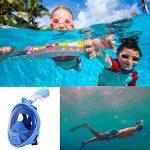 Enfants jeunesse intégral plongeon natation, plongée avec tuba masque anti buée anti-fuite Design Compatible pour Gopro caméra d'Action pour 5 à 15 ans vieux Bleu de la marque Vococal image 2 produit