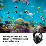 ENKEEO Masque de Plongée, Masque Snorkeling Plein Visage 180° Visible, Antibuée et Anti-fuite Sous-Marine, Snorkel Masque avec la Monture pour Caméra Gopro S/M de la marque ENKEEO image 2 produit