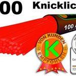 KnickLichterDE 100 Bâtons lumineux fluorescents ROUGES - Qualité supérieure - Set de 202 pièces avec embouts pour relier les batons de la marque KnickLichterDE image 1 produit