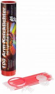KnickLichterDE 100 Bâtons lumineux fluorescents ROUGES - Qualité supérieure - Set de 202 pièces avec embouts pour relier les batons de la marque KnickLichterDE image 0 produit