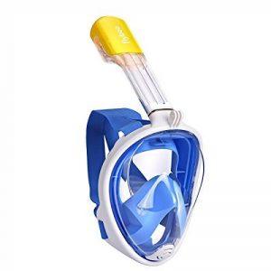Masque de plongée, 180°view Masque Snorkeling Plein Visage, Design Panoramique Compatible GoPro Masque Plongée avec Technologie Anti-Buée et Anti-Fuite pour Adultes et Enfants de la marque flyboo image 0 produit