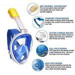 Masque de plongée, 180°view Masque Snorkeling Plein Visage, Design Panoramique Compatible GoPro Masque Plongée avec Technologie Anti-Buée et Anti-Fuite pour Adultes et Enfants de la marque flyboo image 1 produit