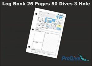 Recharge Carnet de plongée PADI standard pages 25pages 50Dives 3Trou de la marque ProDive image 0 produit