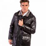 Sur-veste en cuir homme noir Made in Italy avec capuche de la marque image 1 produit