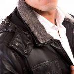 Sur-veste en cuir homme noir Made in Italy avec capuche de la marque image 2 produit